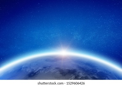 Earth glow horizon. Elements of this image furnished by NASA. 3d rendering