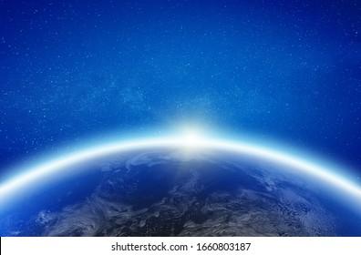 Die Erde leuchtet am Horizont. Elemente dieses von der NASA bereitgestellten Bildes. 3D-Rendering