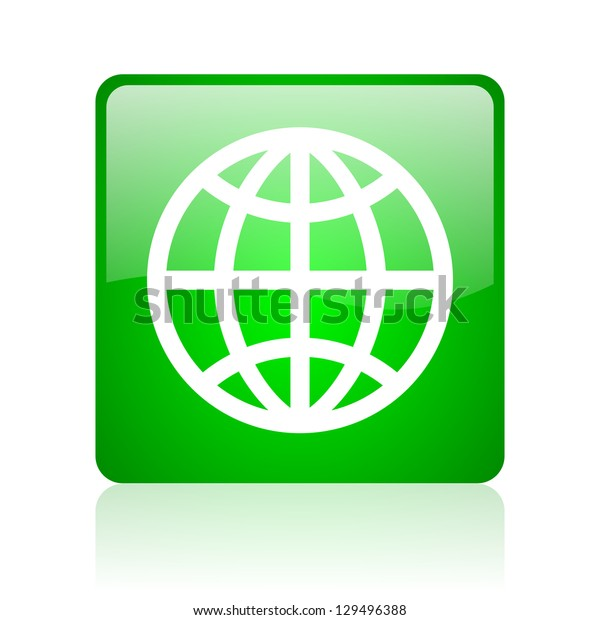 earth green square web icon on white background