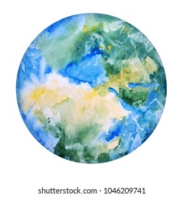 Earth Hand Drawn. Globe in Watercolor Texture.  Illustration of World Map Paint Splash Isolated on White Background. Save Planet, Ecology Icon Concept.