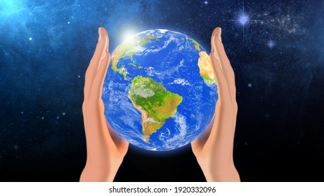 Earth in hands. Green planet on hand. Save of earth. Environment concept for background web or world guardian organization. Elements of this image furnished by NASA. 3d illustration.