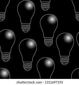 Earth Hour. 60 minutes. Seamless pattern. The bulbs do not light