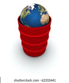 Earth inside a 55 gallon drum