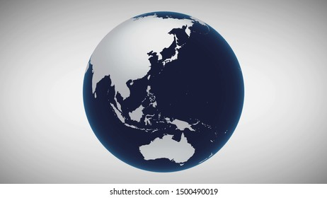 Earth Isolated Business Concept. Cosmos Navigation Digital Global Map Future World Technology. Continents Scenery Grey Background Travel Universe Exploration Concept 3D Rendering Animation