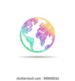 Earth logo. Globe logo icon. Abstract globe logo template. Round globe shape and earth globe symbol, technology icon, geometric globe logo.