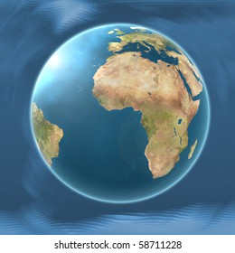 Earth Map Africa on blended mesh background illustration