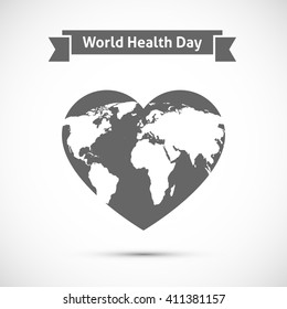 Earth map on heart. World health day concept