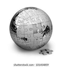 Earth metal puzzles. 3d image. Isolated white background.