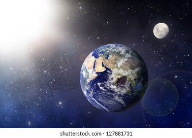 """Earth and Moon """"Elements of this image furnished by NASA"""""""