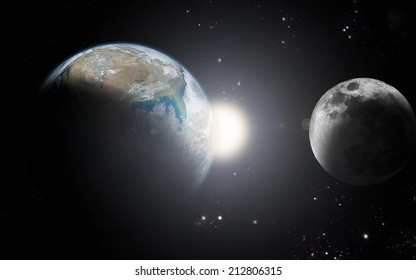 Earth and moon The moon orbit and rotating around the planet earth (Elements of this image furnished by NASA)