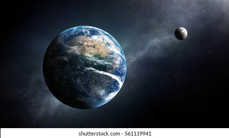 Earth and moon in space with milky-way ( Elements of this 3D render furnished by NASA )