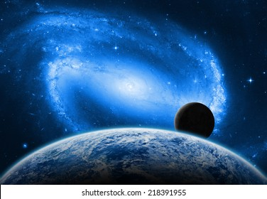 Earth, Moon and space sunrise on a dark starry background. Elements of this image furnished by NASA.