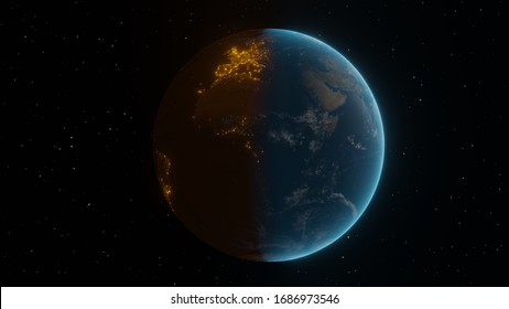Earth morning and night 3Dillustration