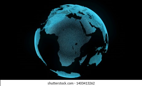 Earth Motion Digital Map Zoom In Business Concept. Spin Planet Landscape Close up Global black Background Future Technology. Science Travel Universe Exploration Concept 3D Rendering Animation