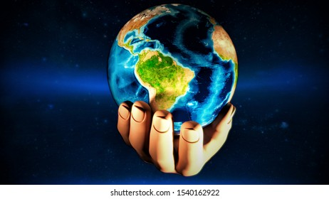 Earth at night was holding in human hands.3D rendering - Illustration