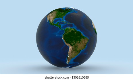 Earth with North America and South America in focus on light blue background 3d illustration