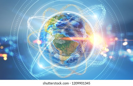 Earth as nucleus of atom with hud interface on it over blurred night city background. Global world concept. 3d rendering toned image double exposure Elements of this image furnished by NASA