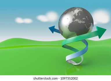 The earth  on a green field is surrounded by green and blue arrows representing clean renewable energy  as 3d rendering.