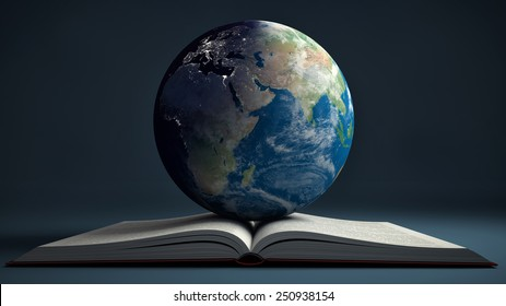 Earth and open book. Education internet e-learning concept