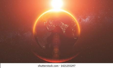 Earth Orbit Rotation Reverse Bright Red Sun Beam. Celestial Globe World Map Starry Universe Galaxy Constellation Universe Exploration Concept 3D Animation