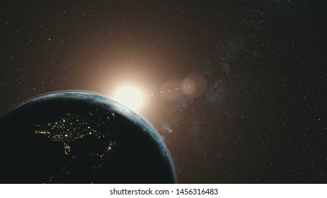 Earth Orbit Rotation Sun Beam Milky Way Background. Dark Outer Space Starry Galaxy Cosmos Constellation Travel Universe Exploration Concept 3D Animation
