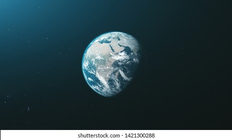 Earth Orbit Zoom Reverse Open Space Background. Rotate Planet Solar System Soft Sun Beam Celestial Constellation Universe Map Travel Concept 3D Animation
