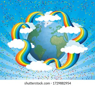 Earth Planet Background With rainbow and Nature Illustration of a cartoon design earth planet globe with architecture and environment elements,