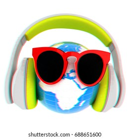Earth planet with earphones and sunglasses. 3d illustration. Anaglyph. View with red/cyan glasses to see in 3D.