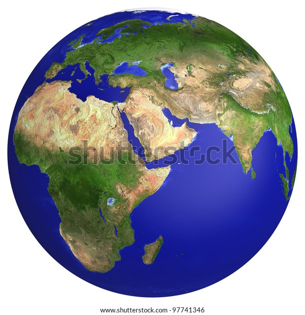 Earth Planet Globe Map Side Africa Stockillustration 97741346 on