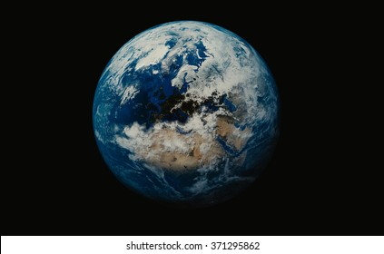 Earth, Planet on black background showing Britain and African continent. Elements of this image furnished by NASA