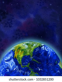 Earth planet in space half view of North America - vertical hand drawn watercolor illustration for banner and print