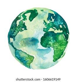 Erdoberfläche. Blick auf Amerika und Afrika in grünen Farben