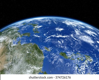 Earth from satellite. View of east Asia and Pacific Ocean from space. 3D realistic illustration.(Elements of this image furnished by NASA.)