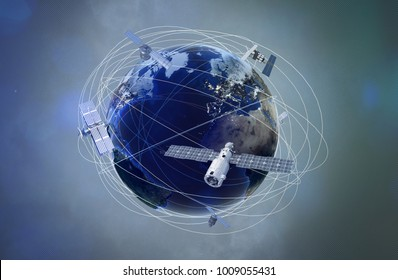 Earth with satellites  (3D Rendering)