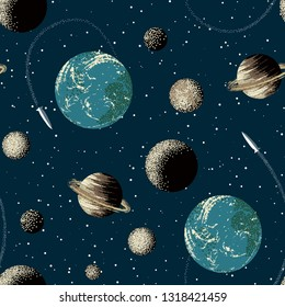 Earth, Saturn, planets and rocket in space. Seamless pattern