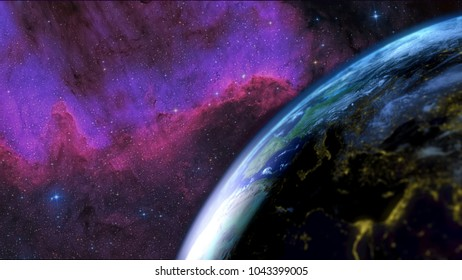Earth seen from the sky with the day night alternation with a nebula in the background. Focus on the earth side. 3D Rendering
