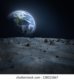 "Earth seen from the moon?""Elements of this image furnished by NASA"""