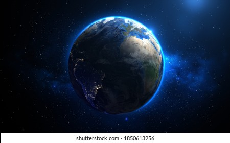The earth in space background, Realistic planet earth, Night side of the earth, 3D Rendering.