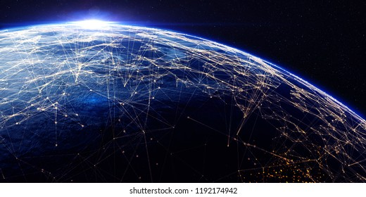 Earth from space at night with a digital communication system. Some elements of the image provided by NASA. 3D rendering/Earth from space at night with a digital communication system