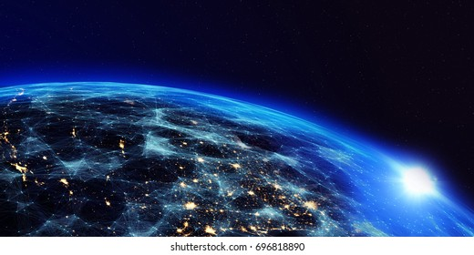 Earth from space at night with a digital communication system. Some elements of the image provided by NASA. 3D Render/Earth from space at night with a digital communication system