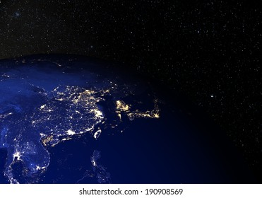 The Earth from space at night, with stars in the background. China. Elements of this image furnished by NASA. Other orientations available.