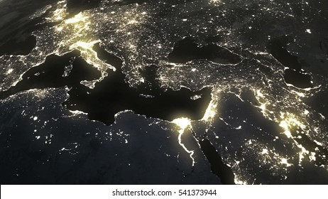The Earth from space at night,world population biggest cities