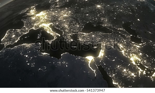La Terre depuis l'espace la nuit, les plus grandes villes du monde