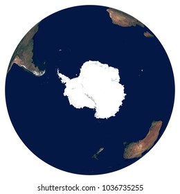 Earth from space. Satellite image of planet Earth. Photo of globe. Isolated physical map of Southern hemisphere (Antarctica, South Pole). Elements of this image furnished by NASA.