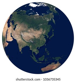 Earth from space. Satellite image of planet Earth. Photo of globe. Isolated physical map of Asia (China, Japan, India, Russia, Korea, Saudi Arabia, Iran). Elements of this image furnished by NASA.