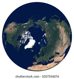 Earth from space. Satellite image of planet Earth. Photo of globe. Isolated physical map of Northern hemisphere (Europe, Asia, North America, North Pole). Elements of this image furnished by NASA.