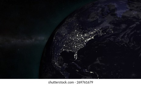 The Earth from space showing The United States- (Extremely detailed map furnished by NASA.)