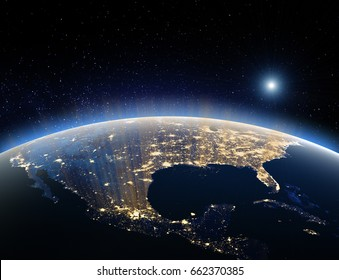 Earth from space - USA. 3D Rendering. Stars my own photo. Elements of this image furnished by NASA
