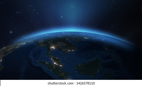 Earth Space View At South East Asian From Space 3D illustration Elements of this image furnished by NASA