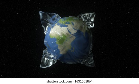 Earth in space wrapped in shrink wrap as a plastic waste concept (3d rendering)